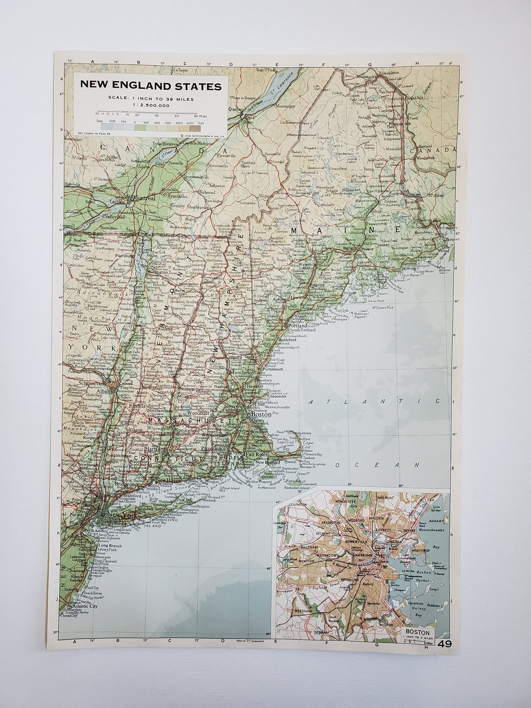 Vintage Map of New England and Boston 1963 - Handmade in Harrisburg