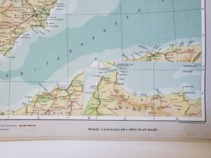 Vintage Map of Spain and Portugal 1963 - Handmade in Harrisburg