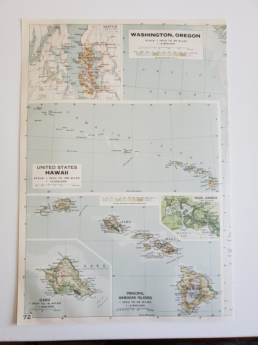Vintage Map of Washington Coast and Hawaii 1963 - Handmade in Harrisburg