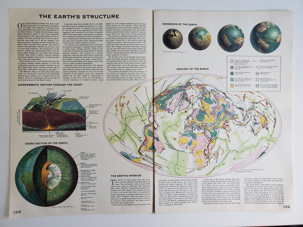 Vintage Map of Earth's Structure 1963 - Handmade in Harrisburg