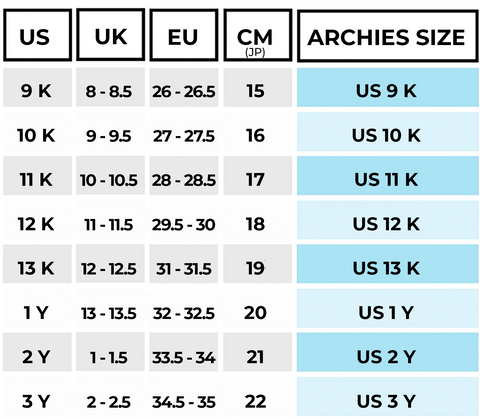 Kids archies size guide