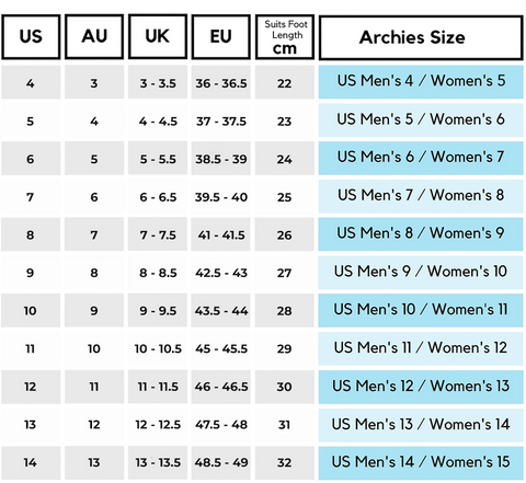 Archies sizing guide men