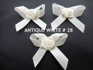 3cm Bows with Rose Bud-Pkts.10 / 25-Wedding,Embellishments,Trimmings,Crafts