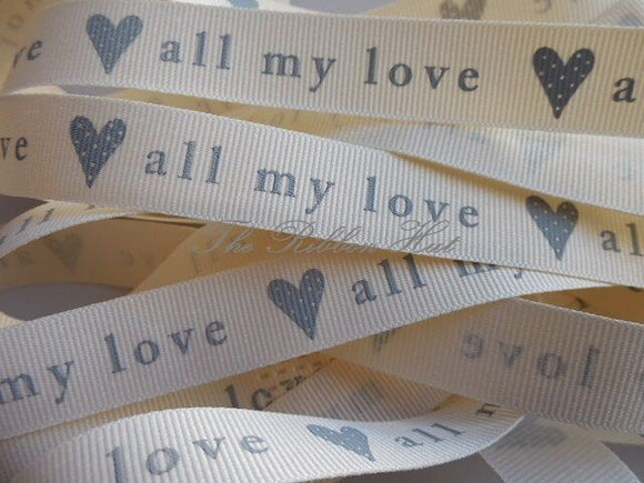 Berisfords 15mm All my Love Grosgrain Ribbon 3 Lengths 3 Colours