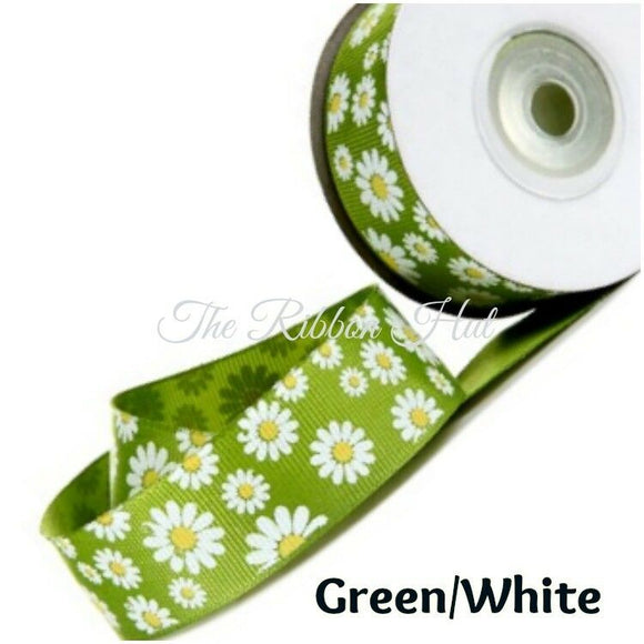 Grosgrain Daisy Flower Print Ribbon-25mm(1