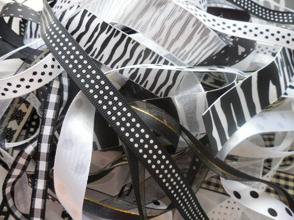 10 X 1 Mtr Ribbon Bundle- Black and White - Mixed Ribbon Off Cuts - Crafts