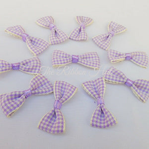 3cm Gingham/Check Mini Ribbon Bow Ties, Pkts of 10 Crafts Embellishments