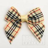 4cm Red and Green Tartan / Plaid Ribbon Bows-Pkt 6/12- (15mm Tartan Ribbon)