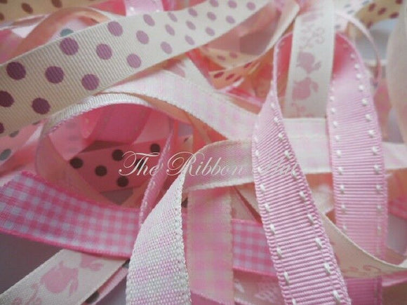 Baby Pinks Ribbon Pack 8 pieces X 1 Mtr long - 8 Different Designs 15mm Ribbon