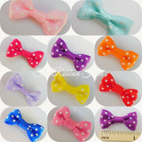3cm x Pkt 10 Polka Dot/Spotty Grosgrain Ribbon Bow Ties, Crafts Embellishments