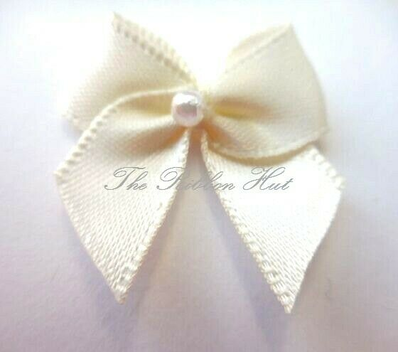 2.5cm Satin Bow with Pearl-Pkts 10/25/50/100 Bows-Craft,Embellishments