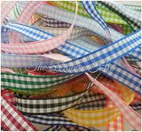 10mm Gingham Ribbon Bundle 10 x 1 Metre long-Crafts,Bow Making,Mixed Colours