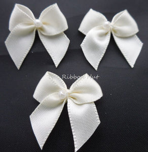 2.5cm Satin Bow with Pearl, Craft Embellishments Trimming Packet of 10 and 25