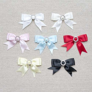 Ribbon Double Bows Small  & Large Ornate Satin with Diamante Buckle  7 Colours