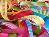10 pieces X 1metre Mixed Bright Spring Colours Ribbon Bundle-(10mm-25mm Ribbons)