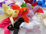 3cm Bows with Rose Buds-Pkt 10/25(7mm Ribbon)Embellishment,Craft Supplies