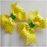 "Spotty Grosgrain Ribbon Hair Bow-Pinwheel Style Boutique Hair Bow-31/2"" inches"