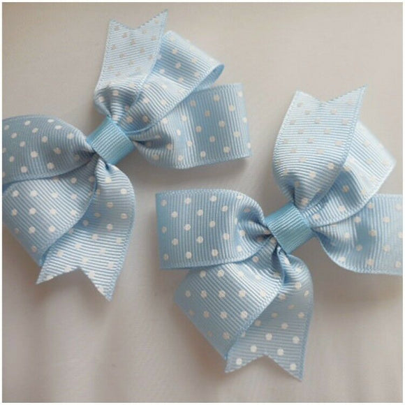Spotty Grosgrain Ribbon Hair Bow-Pinwheel Style Boutique Hair Bow-31/2