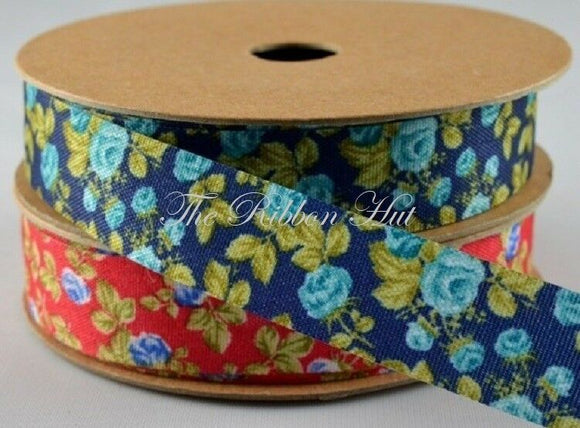 1Mtr Lengths 15MM Red and Blue Flower Print Ribbon