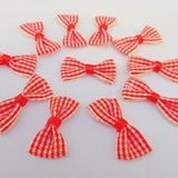 Gingham/Check Ribbon Bows-Small 2.5 cm pre tied-Pack.of 25-Craft,Embellishment