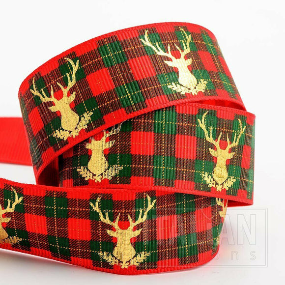 *NEW IN* CHRISTMAS RED OR GREEN TARTAN PRINT RIBBON WITH GOLD FOIL STAGS