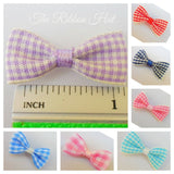 3cm Gingham/Check Mini Ribbon Bow Ties, Pkts of 25 Crafts Embellishments
