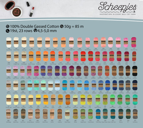 SCHEEPJES CAHLISTA 100% PURE COTTON KNITTING AND CROCHET YARN 50g dk/aran