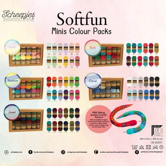SCHEEPJES SOFTFUN COLOUR PACK 12X20G
