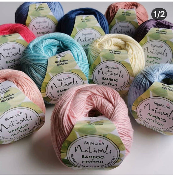 Stylecraft Naturals Bamboo+Cotton100g DK  Knitting Crochet Yarn Vegan Friendly