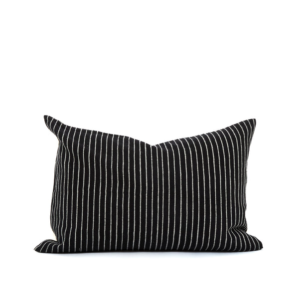 Black with off-white mini stripe small lumbar home goods pillow