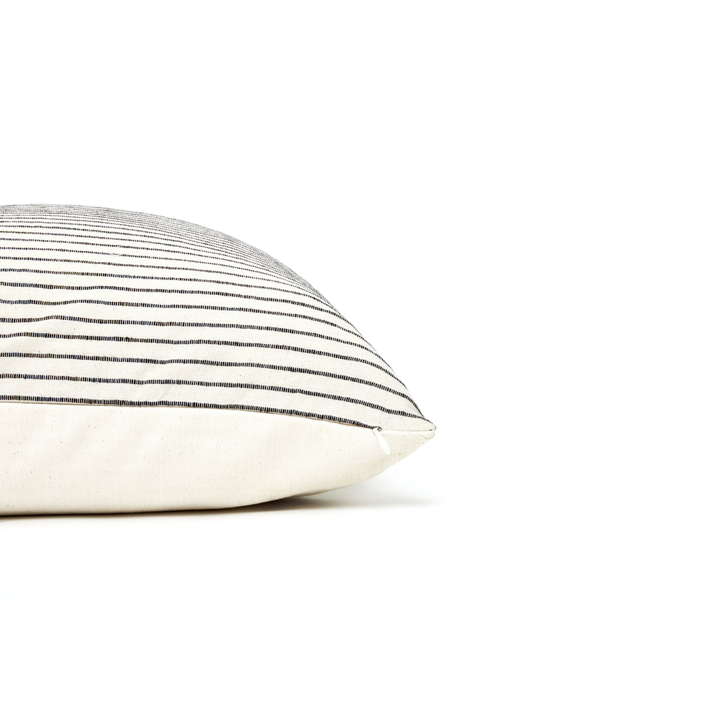 Hidalgo Home Square Pillow that is off-white with black mini stripes for neutral room decor