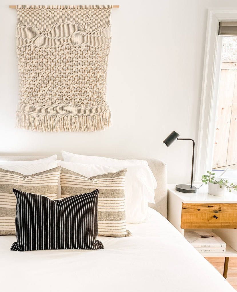 Black and white neutral home goods pillow combination handmade and styled by Hidalgo Home