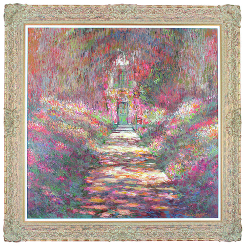 Avenue of Flowers At Giverny - (In the style of Claude Monet) - John Myatt - Antidote Art
