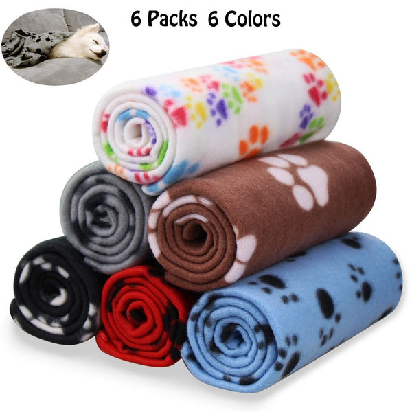 Comsmart Warm Paw Print Blanket/Bed Cover for Dogs and Cats
