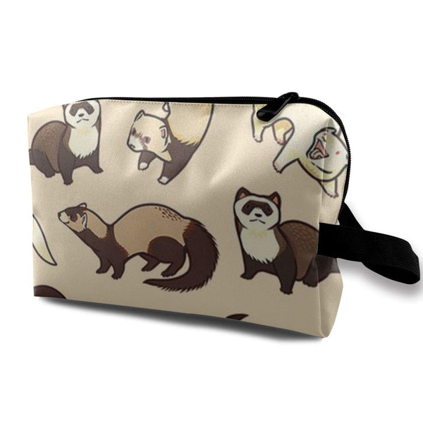 Make up Bag, Travel Makeup Train Case Holder Multi-Purpose Clutch Bag, Large Capacity Makeup Pouch Pencils Holder, Hairy Ferret, Women Ladies Portable Gift