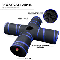 Purrfect Feline Cat Tunnel Design, Collapsible 4-Way Cat Tunnel Toy Crinkle (Medium Large Sizes)