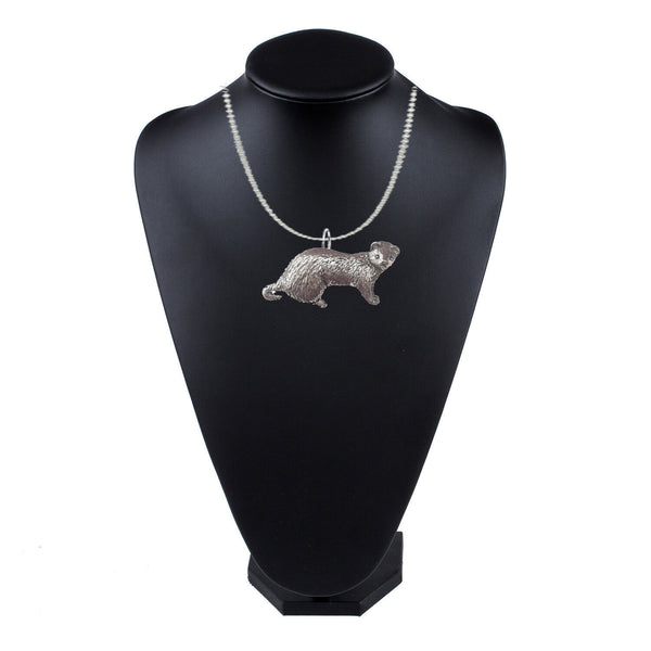 Ferret on a 18 inch platinum chain necklace jewelry PPA39