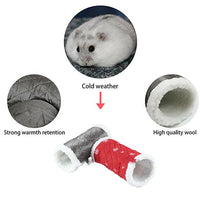 Hamster Nest Small Pet Animal Tunnel Toy Winter Warm Fleece Tube Hideout Bed