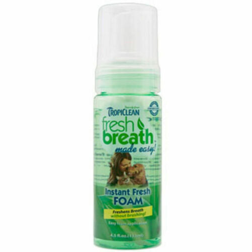 TROPICLEAN Fresh Breath Clean Mint Foam 4.5 oz Dog Canine Cats Bad Breath
