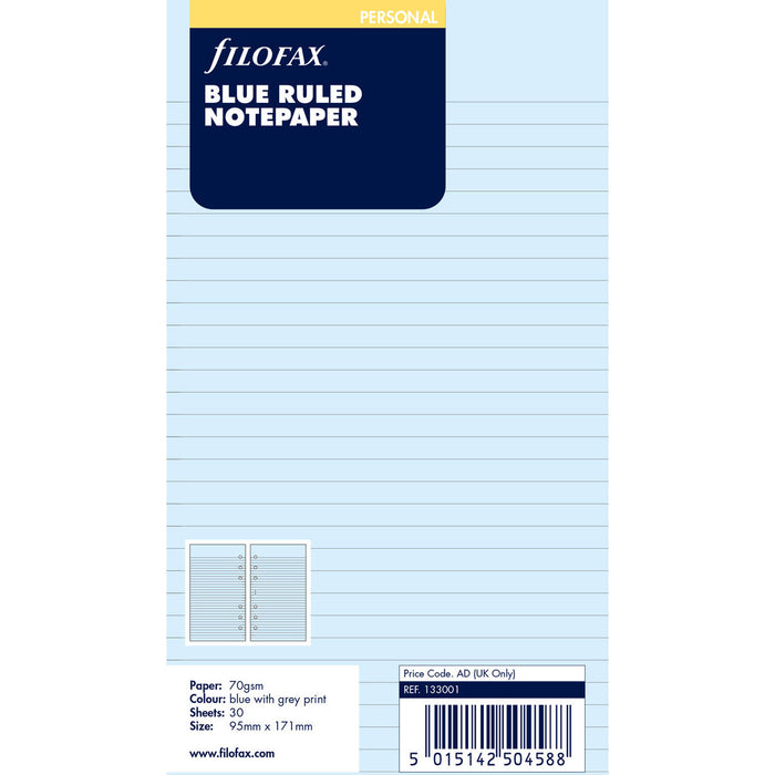 Personal Blue ruled notepaper