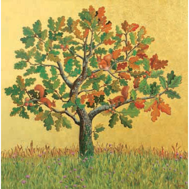 Marcelle Milo-gray - Oak With Red Squirrels