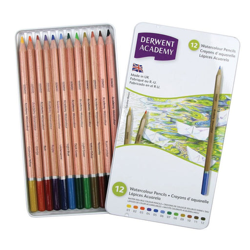 Derwent Academy Watercolour Tin Of 12