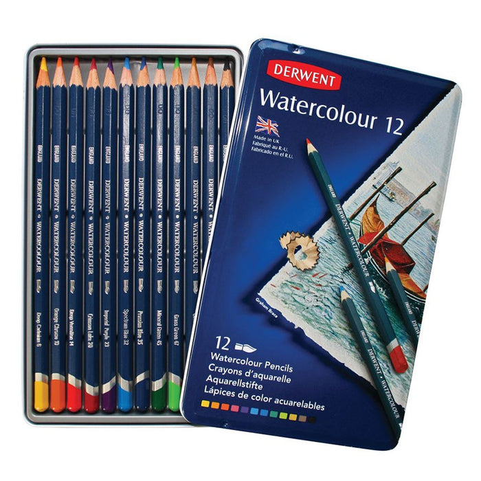 Derwent Watercolour Tin of 12