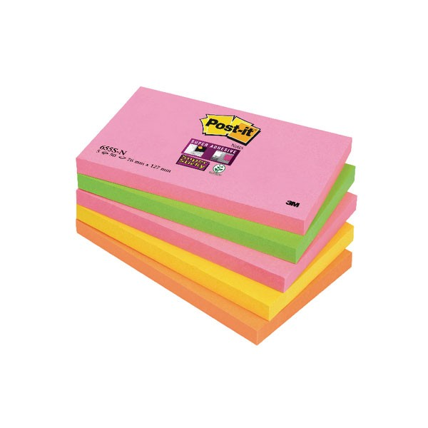 Post-it Notes Super Sticky 76 x 127mm Cape Town 655-SN