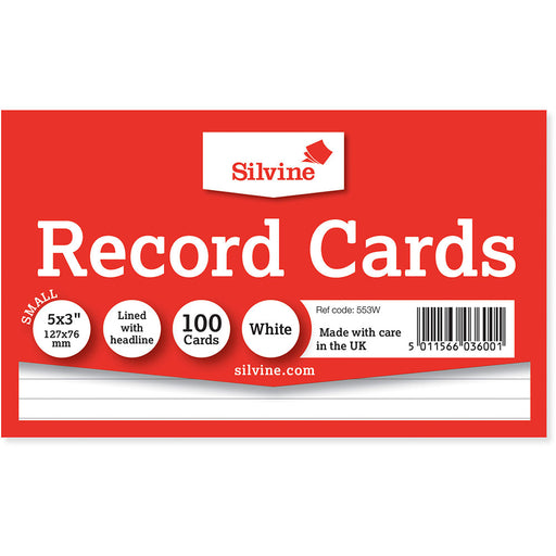 Record Cards Ruled White 5x3in