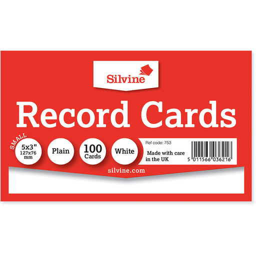 Record Cards Plain White 5x3in