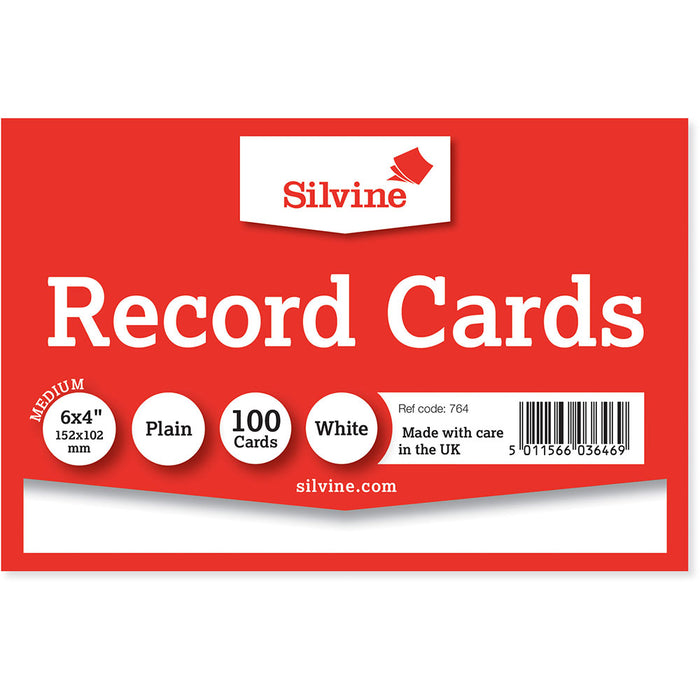 Record Cards Plain White 6x4in