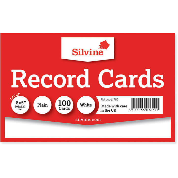 Record Cards Plain White 8x5in