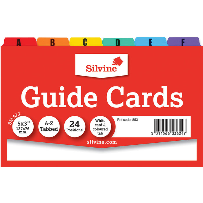 Multicoloured Guide Cards A-Z 5x3in