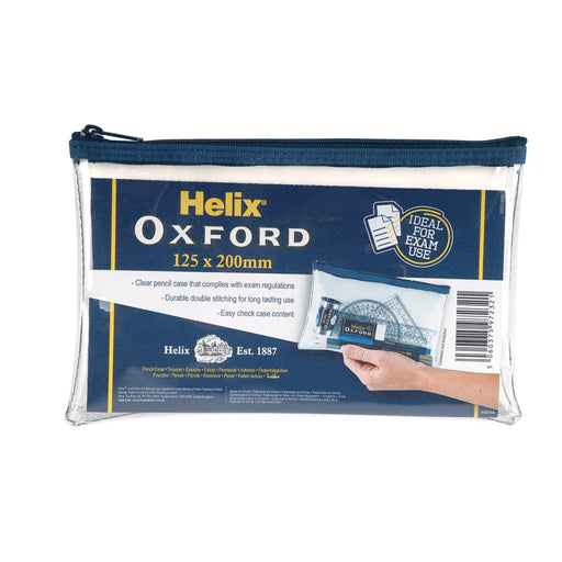 "Helix Oxford 8""x 5"" Clear Pencil Case"